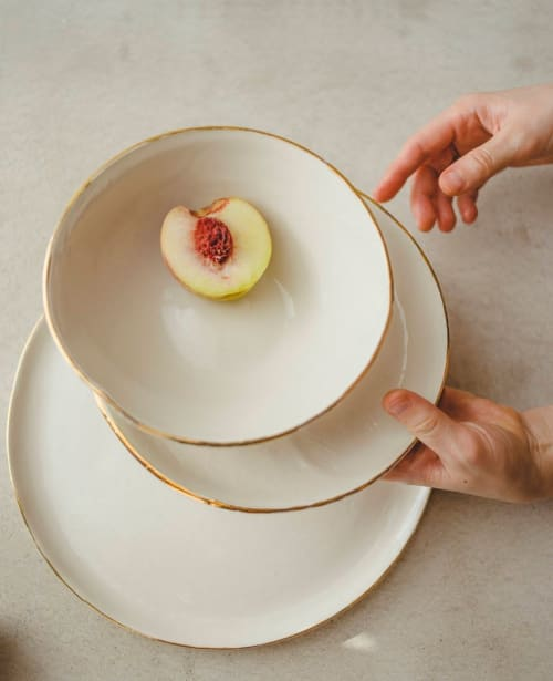 Ceramic Plates by SIND STUDIO seen at Private Residence, Warsaw - GOLD FRAMED CANVAS dinnerware
