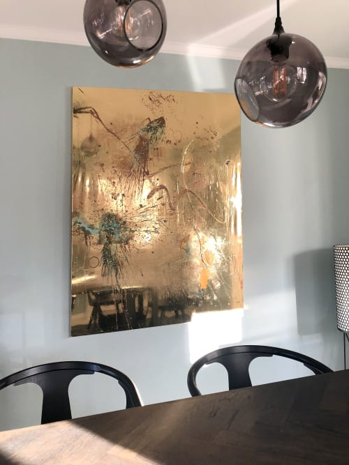 Paintings by Mikkel Carl seen at Private Residence, Hørsholm - Gold mirror foil painting