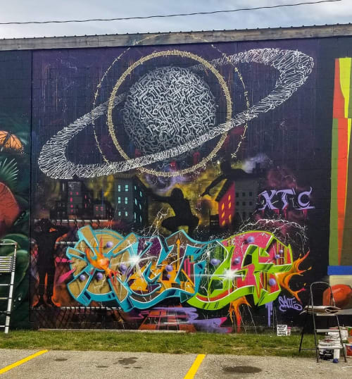 Street Murals by ESOTERiC Calligraffiti seen at Burlington, Burlington - Bring Back Pluto