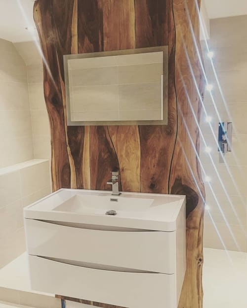 Furniture by Handmade in Brighton seen at Private Residence - Walnut Bathroom Wall Panel