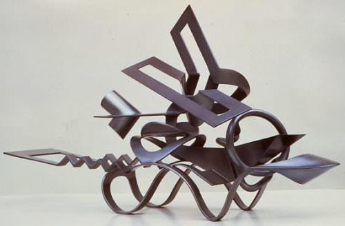 "Sculptures by Joseph Slusky seen at College of Environmental Design, Berkeley - ""Glide-Bye"" (1973)"