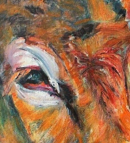 Paintings by Liesbeth Serlie seen at Marktplein 2, Brakel - Koe portret (5)