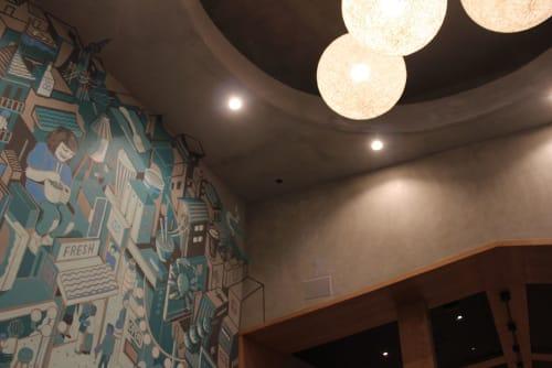 Murals by Nigel Sussman seen at Taro San Japanese Noodle Bar, Palo Alto - Taro San Mural