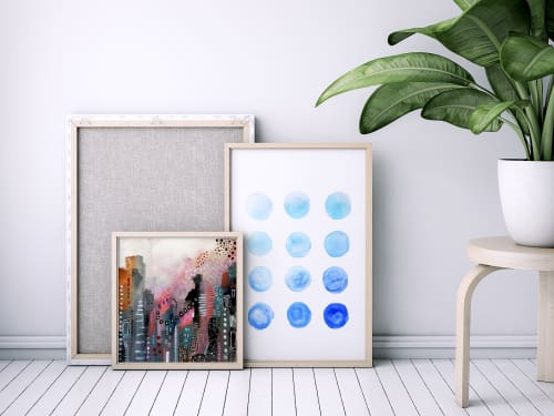 Paintings by Melanie Biehle seen at Private Residence, Hamburg - Calming Blue Watercolor Circles
