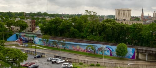 Murals by Tobias Studios seen at Fort Wayne, Fort Wayne - Metaform