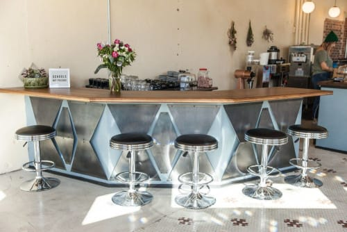 Furniture by Art Builders Guild seen at Amethyst Coffee- Broadway, Denver - Walnut Bar Top