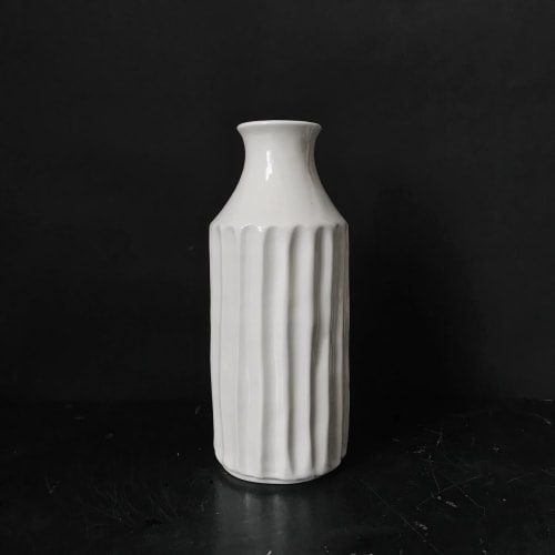 Vases & Vessels by Monsoon Pottery seen at Private Residence - West Town, Chicago, Chicago - Fluted Porcelain Bottle Vase