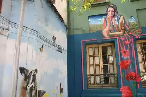 Street Murals by Valeria Merino seen at centro Cultural Manuel Rojas, Santiago - Cecilia mural