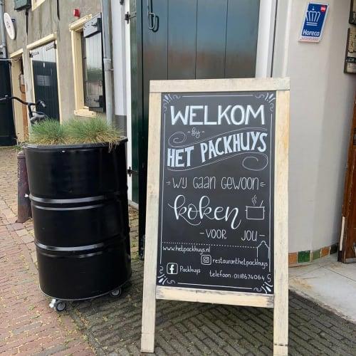 Signage by Mooi met letters seen at Het Packhuys Middelburg, Middelburg - Het Packhuys welcome lettering