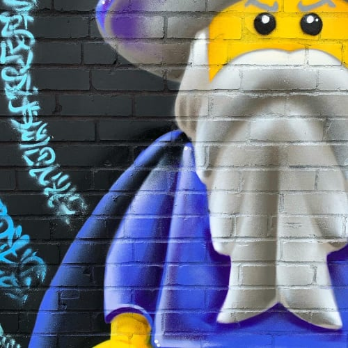 Street Murals by Jared Goulette | The Color Wizard seen at Portland, Portland - Lego Wizard exterior Murals