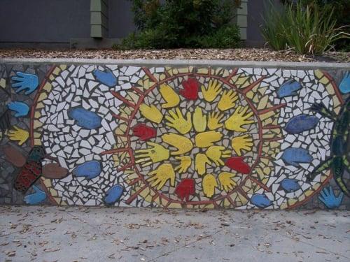 Public Mosaics by Elizabeth Raybee seen at Grace Hudson Elementary School, Ukiah - Hands Of Grace Mosaic Mural