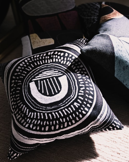 """Pillows by K'era Morgan seen at Private Residence, Los Angeles - """"Spiral"""" Throw Pillow"""