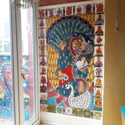 Public Mosaics by Mango Mosaics seen at Private Residence, Smethwick - Saraswati Mosaic