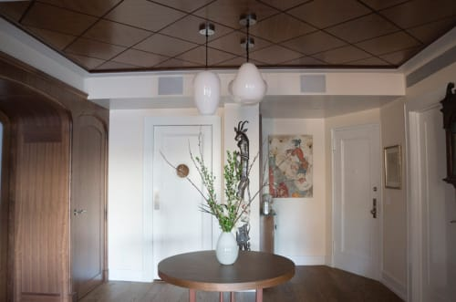 Pendants by KEEP seen at Private Residence in Upper West Side NYC, New York - Custom CANE Pendant Light Trio