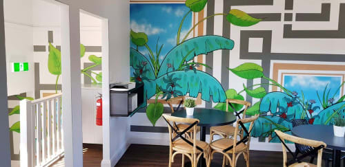 Murals by Sam Shennan seen at 2 Doors Down Cafe, Gladesville - Plantation Mural