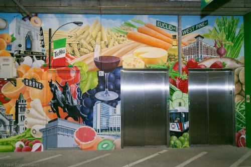 Murals by Peter Engelsmann seen at Whole Foods Market, St. Louis - Whole Foods St. Louis Midtown Mural