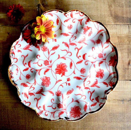 Ceramic Plates by Terre Ferme Pottery seen at Private Residence, Edmonton - Red Egg Plate