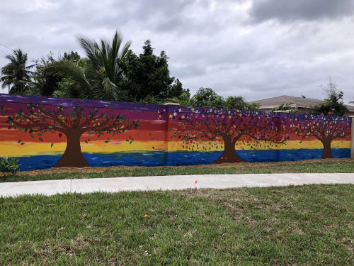 "Murals by Alicia Maria Vallejo seen at North Miami Beach Library, North Miami Beach - ""Forest of Joy"" Mural"