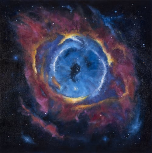 Paintings by Destanne Norris seen at Vernon Public Art Gallery, Vernon - The Eye of the Cosmos (Helix Nebula)