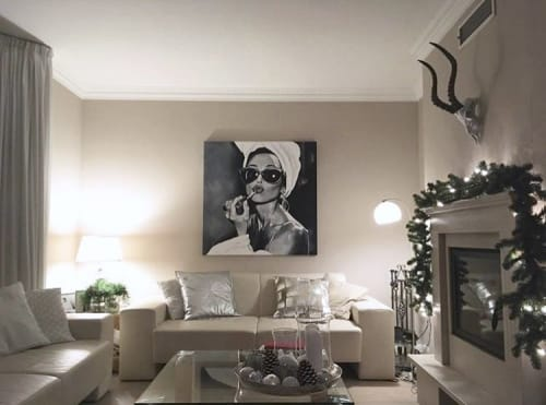 Paintings by Cindy Press seen at Private Residence - Painting Install In Private Home