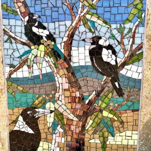 Public Mosaics by Alison Archbold seen at Waniassa Street, Queanbeyan East - Public mosaic memorial