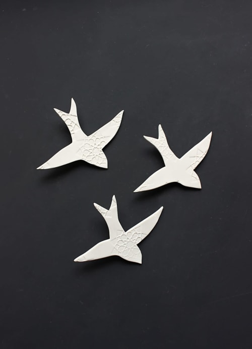 Art & Wall Decor by Elizabeth Prince Ceramics seen at Creator's Studio, Manchester - Three Swallows over Moroccan Tiles