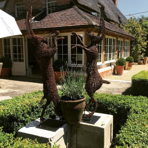 Sculptures by Emma Jane Rushworth seen at Private Residence, Wicklow - Boxing Hares