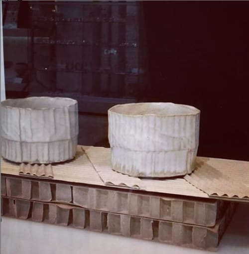 Cups by Ray G Brown seen at Bluecoat Display Centre, Liverpool - Cardboard Ceramics Tumbler