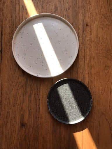 Ceramic Plates by Little Fire Ceramics seen at Private Residence, Chicago - Julia Plates in Dalmatian and Cosmos