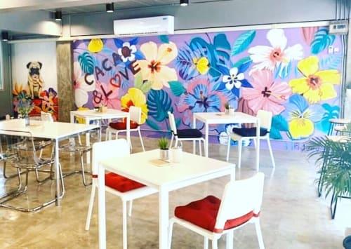 Murals by Jeevna seen at The Contemp, Khwaeng Phra Khanong Nuea - Cacao & Love