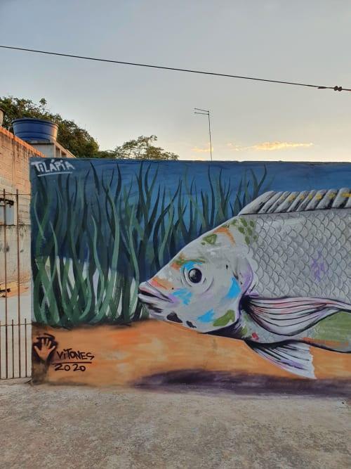 Murals by Vitones seen at Rua Dionísio Bellante, Jardim Santa Fé - Tilapia