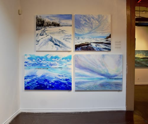 Paintings by Celina Melo seen at Twist Gallery, Toronto - Icescape X & XI (above), Georgian Skies & Swept Away (below)