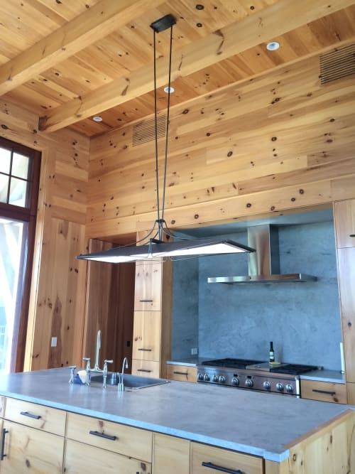 Lighting by Medwedeff Forge and Design seen at Private Residence - Hanging LED Island Light