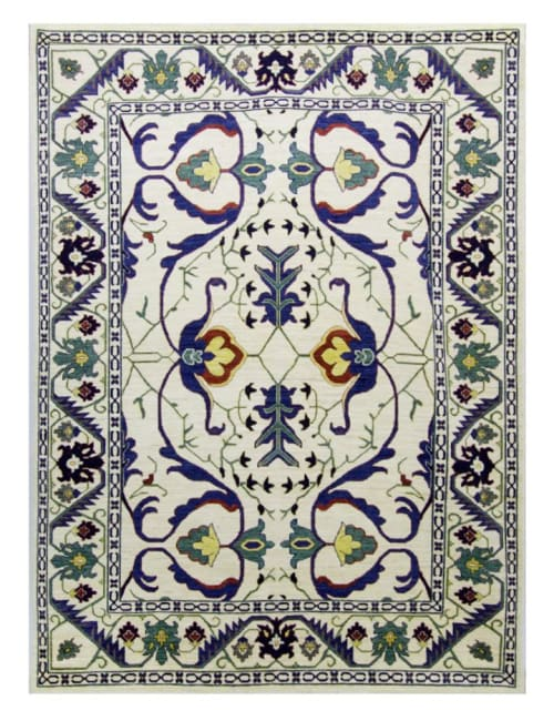 Rugs by Qadimi seen at Private Residence, Raleigh - Palmette Afghan Persian Rug 8' x 10'