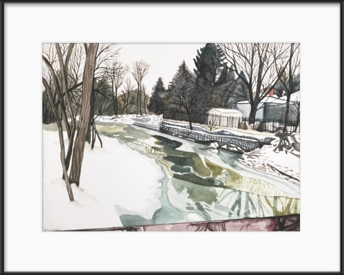 Paintings by Melissa Patel seen at Private Residence, St. Catharines - Frozen Creek (1 & 2) - watercolour paintings
