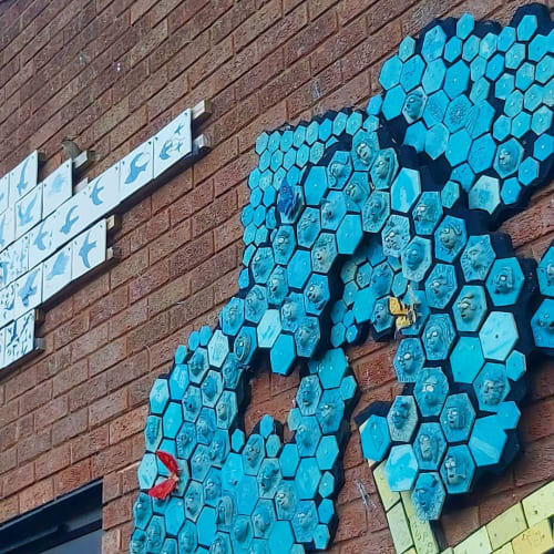 Public Mosaics by James Ort seen at Ashmead Primary School, London - Tree Mosaic