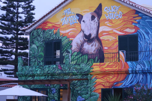 Murals by Ozearv seen at Private Residence, Costa da Caparica - Mr Ziggy´s Surf House