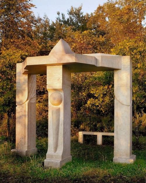 Public Sculptures by Douglas  Lorne Robinson seen at Ontario Tech University, Oshawa - Tolmen Lintel