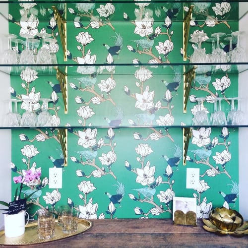 Wallpaper by Cotton & Quill seen at Private Residence, Birmingham - Steel Magnolia