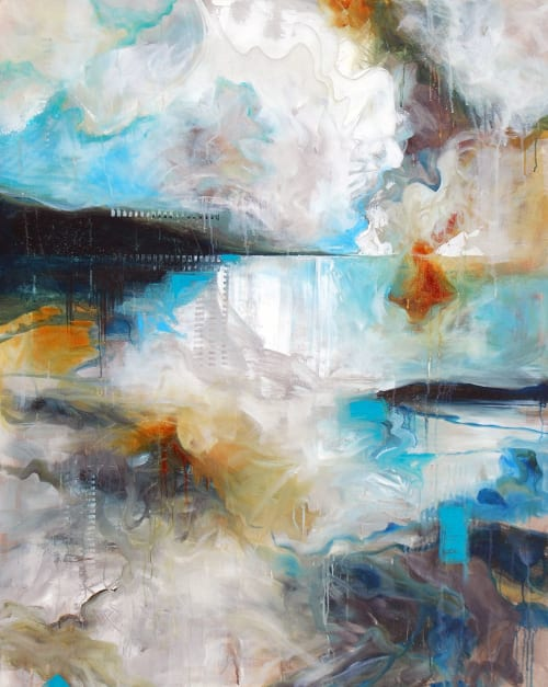Paintings by Jeanette Jarville B.FA seen at Ukama Gallery, Vancouver - Whispering Winds