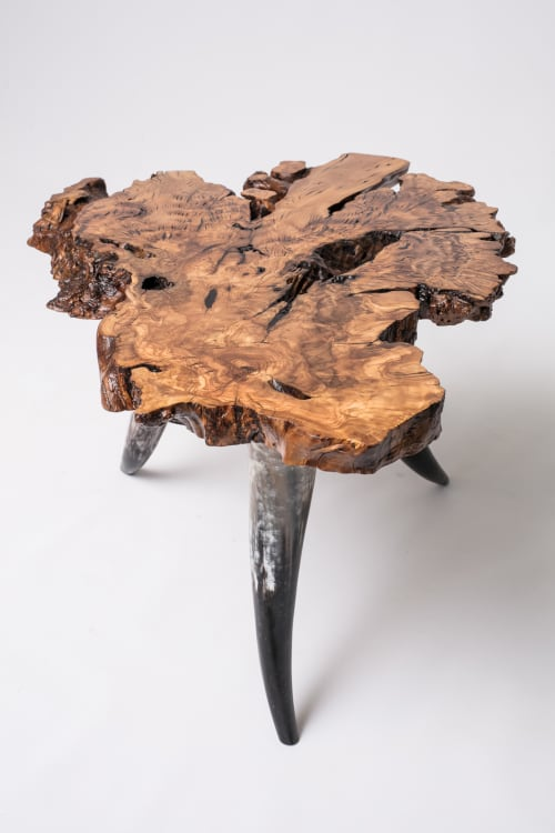 Tables by Lumberlust Designs seen at Private Residence, Austin - Olive Burl with Horn End Table