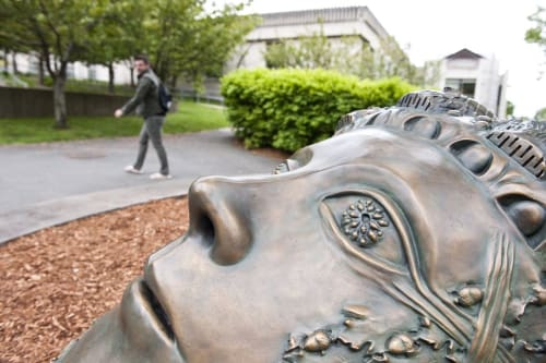 Public Sculptures by Leslie Fry seen at Tufts University, Medford - Colossal AcornHead