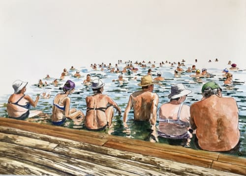 Paintings by Arran Harvey seen at San Francisco, San Francisco - Untitled, Bathers, 2019