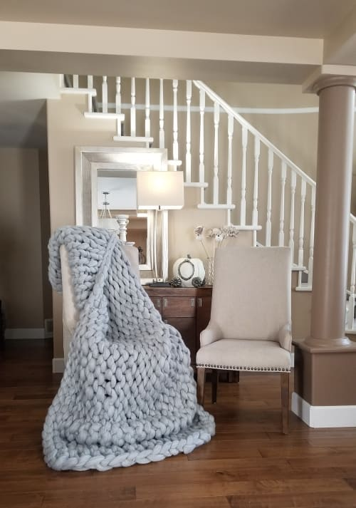Linens & Bedding by Knit Like A Boss seen at Private Residence, Langley - King Size Merino Wool blanket