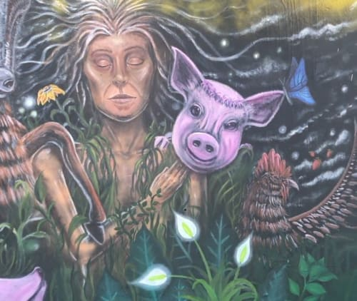 Murals by Mysterylias Arts seen at Mana Wynwood Convention Center, Miami - We Are All One