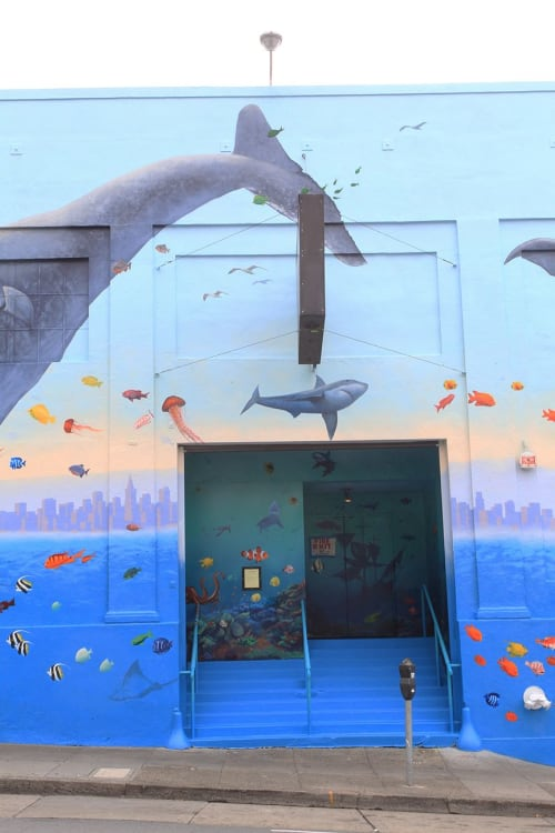Street Murals by Lindsey Millikan (Milli) seen at Mitchell Brothers O'Farrell Theatre, San Francisco - O'Farrell Brothers Theater Whale Mural