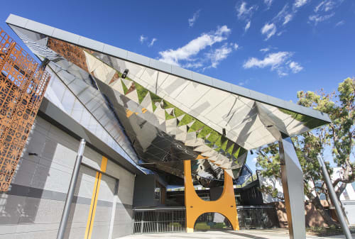 Public Sculptures by Forlano Design seen at Fremantle College, Beaconsfield - Kaliedoscopic Wave; Stainless Steel Soffit