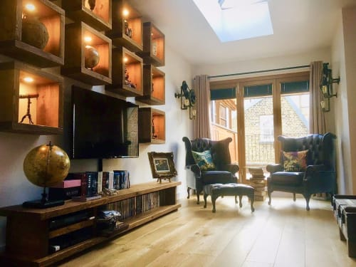 Tables by New Forest Rustic Furniture seen at Private Residence, Manchester - Rustic Living room shelving