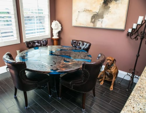 """Tables by Lumberlust Designs seen at Private Residence, San Clemente - Maple Burl """"Scorched Earth"""" River Dining Table"""