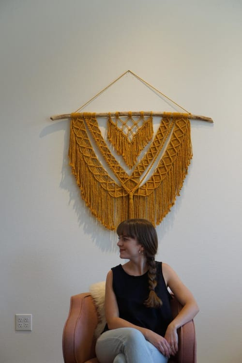 Macrame Wall Hanging by November Made Co. seen at Max & Ro Hair Co., Salem - Mustard Macrame Wall Hanging